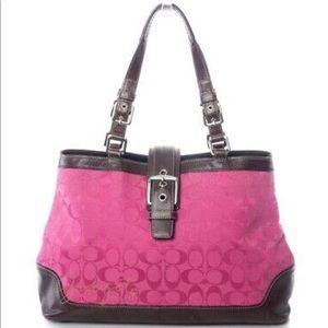 COACH F13021 Pink Canvas Brown Leather Handbag